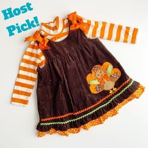 Rare Editions Thanksgiving Turkey Appliqué Dress